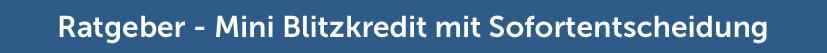 Ratgeber Mini Blitzkredit