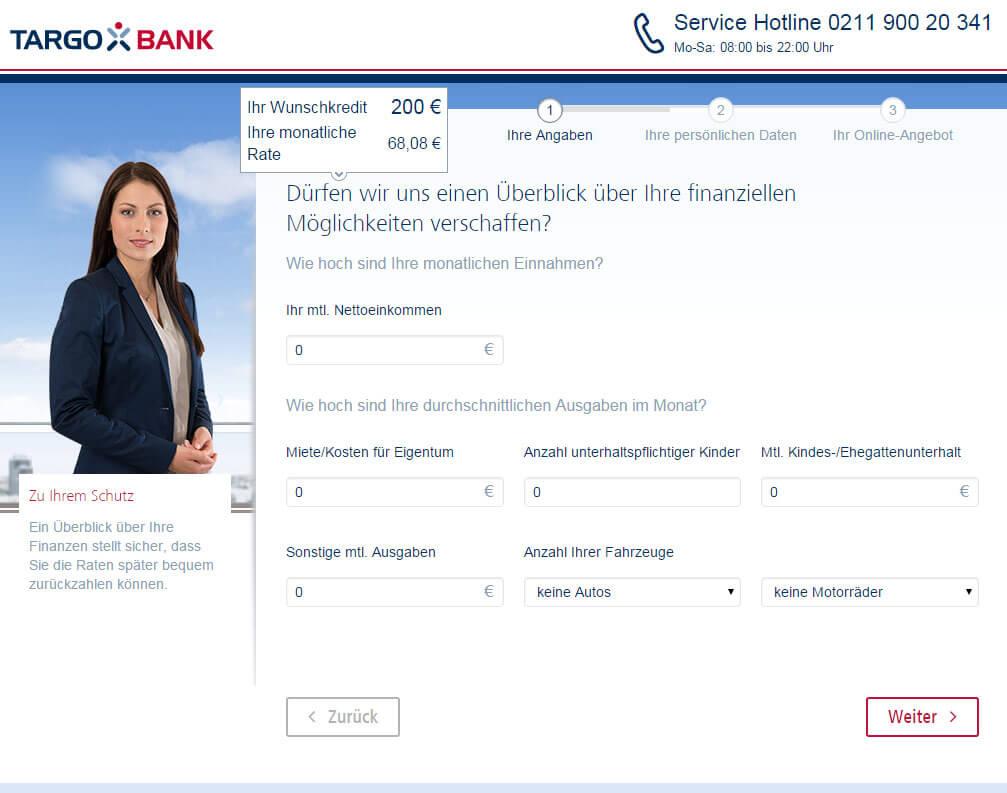 Targobank Direkt Geld Online Antrag Schritt 2