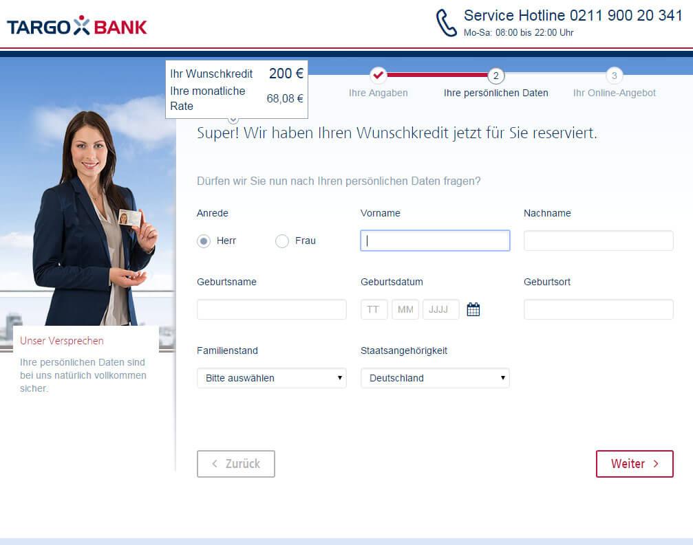 Targobank Direkt Geld Online Antrag Schritt 4